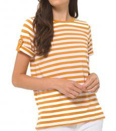 Michael Kors Marigold Yellow Striped Roll-Sleeve Shirt
