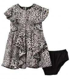 BCBGirls Baby Girls Black Printed Crepe Ruffle Dress