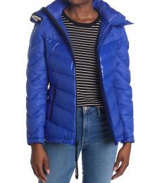 Michael Kors Cobalt Logo Trim Puffer Jacket