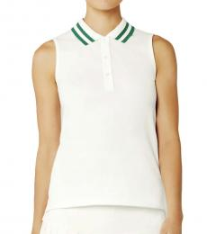 Tory Burch White Performance Pleated-Collar Polo Tee