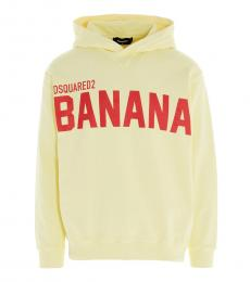 Dsquared2 Light Yellow Logo Print Hoodie