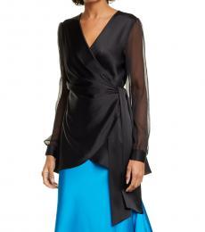 Diane Von Furstenberg Black V-Neck Wrap Top