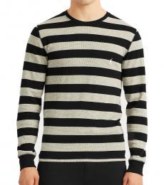 Ralph Lauren Black Rugby-Stripe Knit Sweatshirt