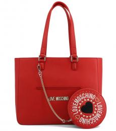 Red Solid Large Tote