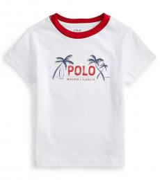 Ralph Lauren Little Boys White Graphic T-Shirt