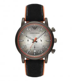 Emporio Armani Black Orange Rubber Strap Watch