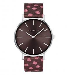 Coach Brown Perry Oxblood Floral watch