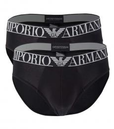 Emporio Armani Black 2-Pack Logo Band Briefs