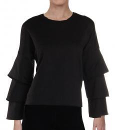 Black French Terry Ruffled Sweatshirt