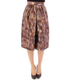 Brown Printed Floral Skirt