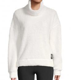 White Fleece Funnel-Neck Pullover