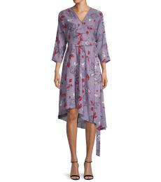 Diane Von Furstenberg Light Purple Pixie Floral Wrap Dress