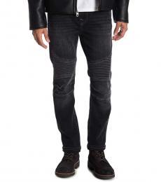 True Religion Black Roco No Flap Moto Jeans