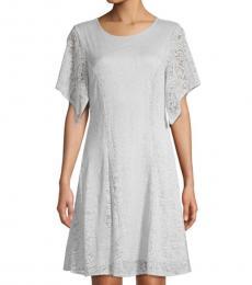 Pearl Blue Short-Sleeve Lace Mini Dress