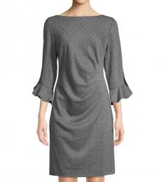 Black Jacquard Ruched Sheath Dress