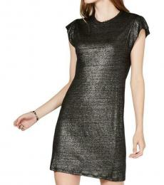 Michael Kors Black Linen Metallic Shift Dress