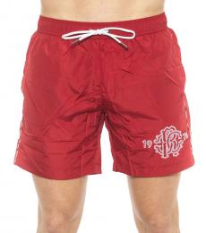 Roberto Cavalli Red Logo Swim Shorts
