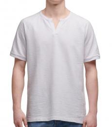 White Notch Neck Raglan T-Shirt
