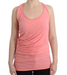 Cavalli Class Pink Logo Cotton Tank Top