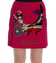 Pink Embroidered Wool Skirt