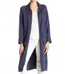 True Religion Medium Blue Longline Trench Jacket