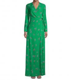 Green Bird-Print Maxi Wrap Dress