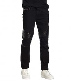 True Religion Black Rocco Relaxed Skinny Moto Jeans