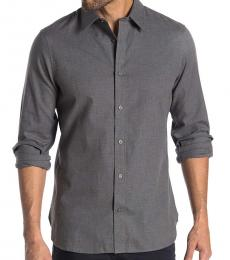 Calvin Klein Grey Heather Button Down Flannel Shirt