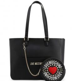Love Moschino Black Round Pouch Large Tote