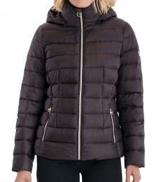 Michael Kors Chocolate Packable Down Puffer Jacket