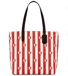 Red Star Print Large Tote
