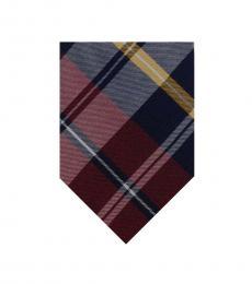 Ralph Lauren Red Blue Plaid Twill Tie