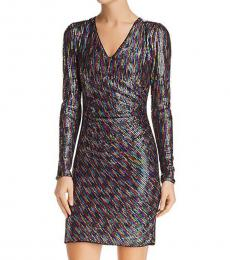 Metallic Magenta Metallic Sequined Party Dress