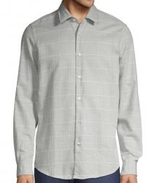 Grey Regular-Fit Windowpane Plaid-Print Shirt