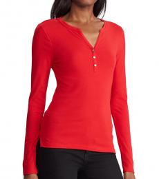 Red V-Neck Cotton Blouse