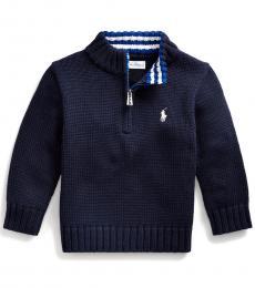 Ralph Lauren Baby Boys Navy Quarter-Zip Sweater