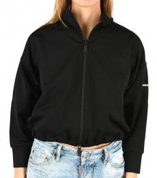 Dsquared2 Black Cotton Blend Sweatshirt Jacket