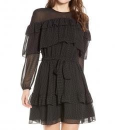 Black Portia Dot Ruffle Mini Dress