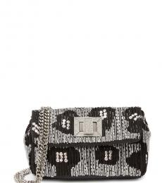 Betsey Johnson Silver Black On the Town Mini Shoulder Bag