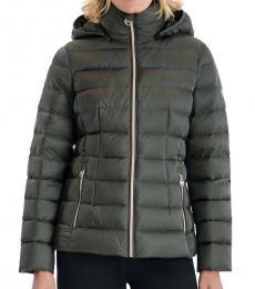 Michael Kors Dark Olive Packable Down Puffer Jacket