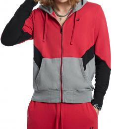 Red Chevron Panel Hoodie Jacket