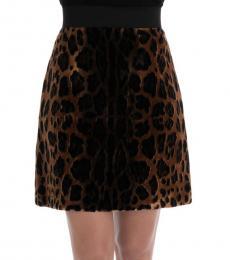 Dolce & Gabbana Brown Leopard Print Skirt