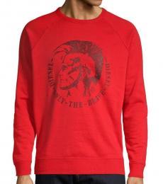 Diesel Red Graphic Cotton-Blend Sweatshirt