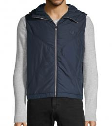 Versace Collection Navy Down Hooded Vest