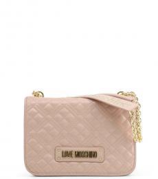 Love Moschino Light Pink Logo Strap Medium Shoulder Bag