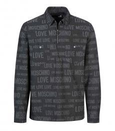 Love Moschino Black Quarter Zip Logo Shirt