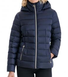 Michael Kors Navy Blue Packable Down Puffer Jacket