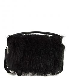 Dsquared2 Black Real Fur Large Satchel