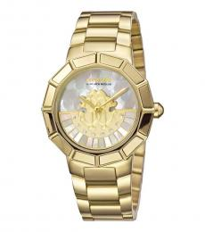 Roberto Cavalli Gold Rotating Dial Striking Watch
