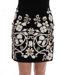 Black Crystal Floral Skirt